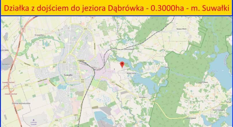 Dąbrówka koło Suwałk,  działka z linią j. Dąbrówka - 0,3000 ha
