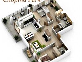 Nowy Apartament Chopina Park 82 m2, 3 pok., salon z aneksem, 2 tarasy, garaż