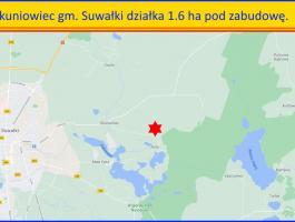 Okuniowiec gm. Suwałki działka 1.6 ha – pod zabudowę.