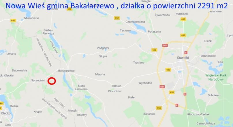 Nowa Wieś gmina Bakałarzewo, działka na sprzedaż,2291 m2.